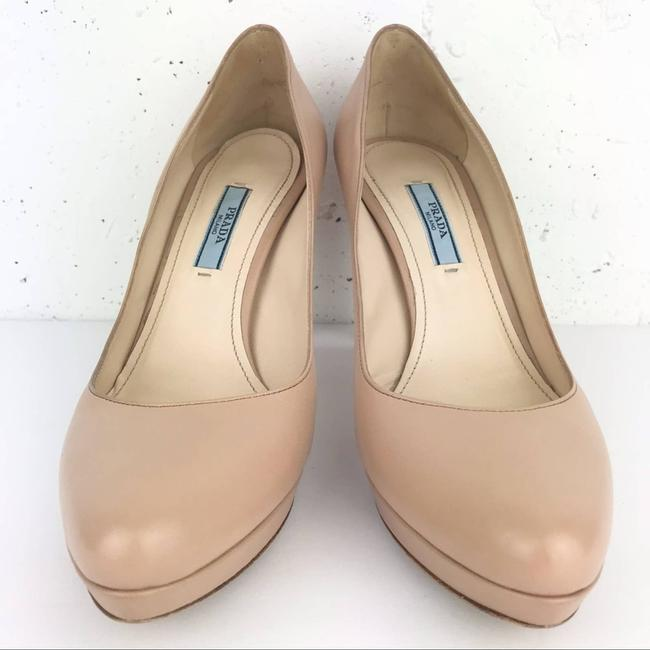 Item - Nude Almond Toe Leather Platform 7.5 Pumps Size EU 37.5 (Approx. US 7.5) Regular (M, B)