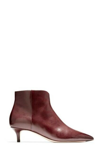 Item - Red Burgundy Leather Kitten Heel Ankle Boots/Booties Size US 7 Regular (M, B)