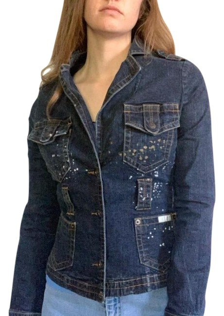 Item - Blue Gold and Silver Paint Splattered Jean Jacket Size 8 (M)