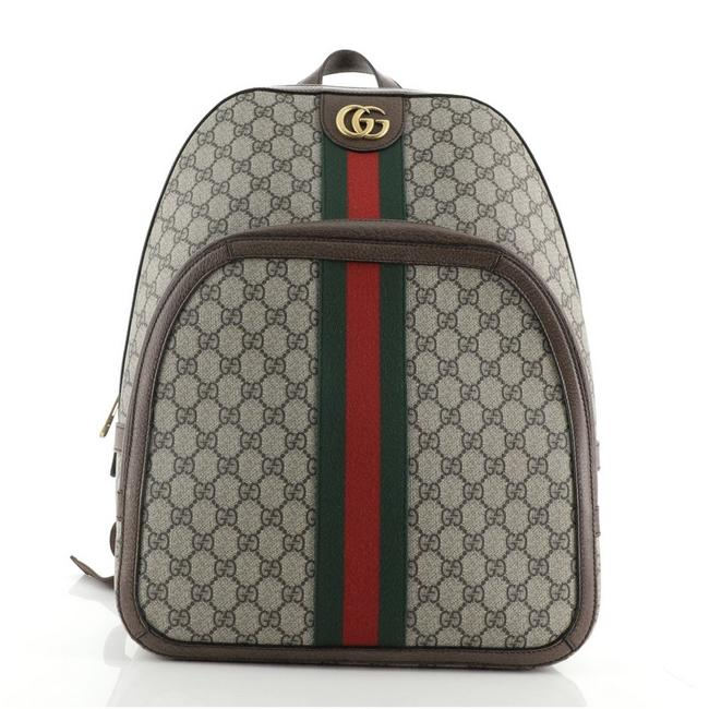Item - Ophidia Gg Coated Medium Brown Canvas Backpack