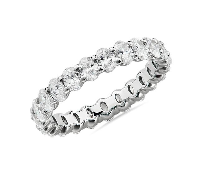 Item - 14k White Gold 2.00ct Oval Cut Eternity In Ring