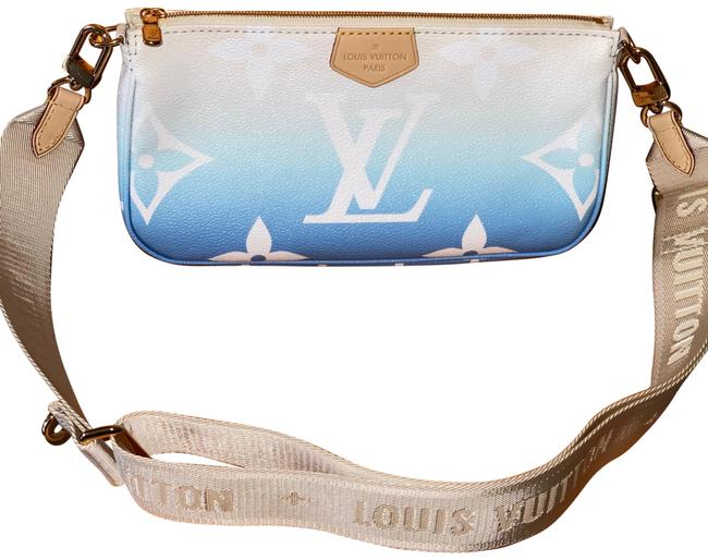 Item - Accessoires Pochette Big with Strap By The Pool Monogram Blue Coated Canvas Cross Body Bag