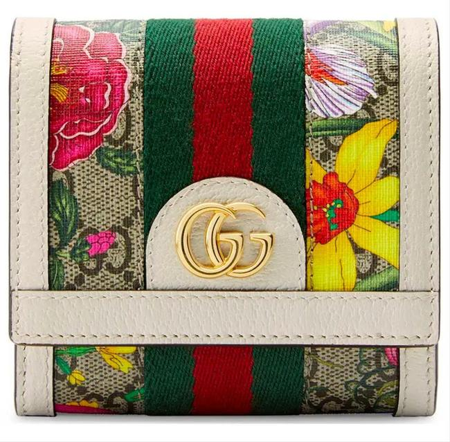 Item - New Gg Ophidia Flora Card Case Wallet Tote White Leather Canvas Clutch