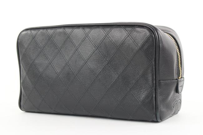 Item - Black Toiletry Pouch Quilted Lambskin 295cas513 Cosmetic Bag