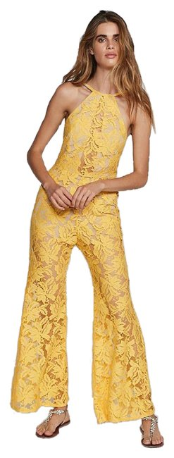 Item - Yellow New Backstage Lucy Lace Romper/Jumpsuit