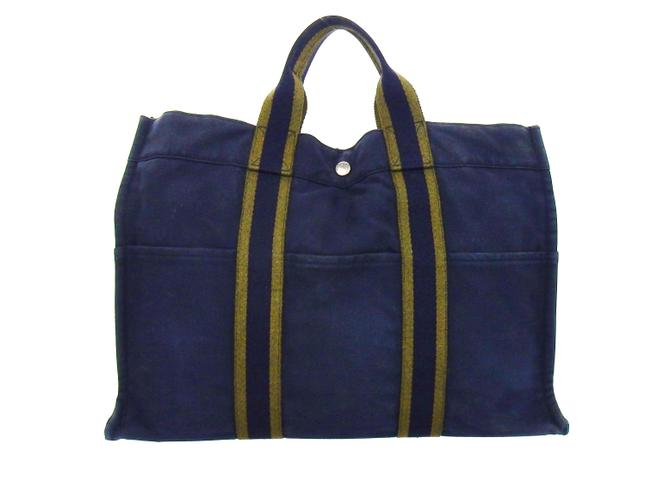 Item - Fourre Tout Vintage Mm Navy Blue Canvas Tote