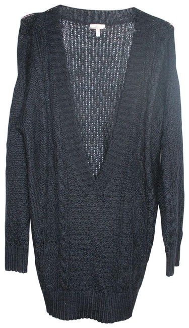 Item - L V Neck Open Cable Knit Over Sized Cardigan Gray Sweater