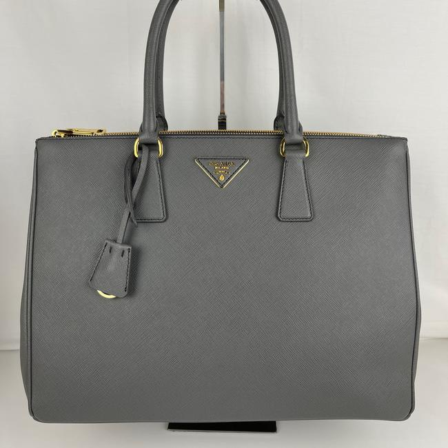 Item - Galleria Double Lux New Italian Zip Mercurio - Gray Saffiano Leather Tote