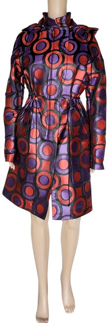 Item - Purple Red W L Pre/Fall 2011 L# Geometric Print W/Ho Coat Size 2 (XS)