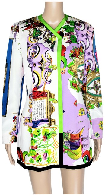 Item - White/Multi New Gianni 1990-s Rare Coutre Floral 40 - Coat Size 6 (S)