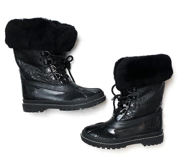 Item - Black Leonora Shearling Fur Lined Wellies Lace Boots/Booties Size US 7.5 Regular (M, B)