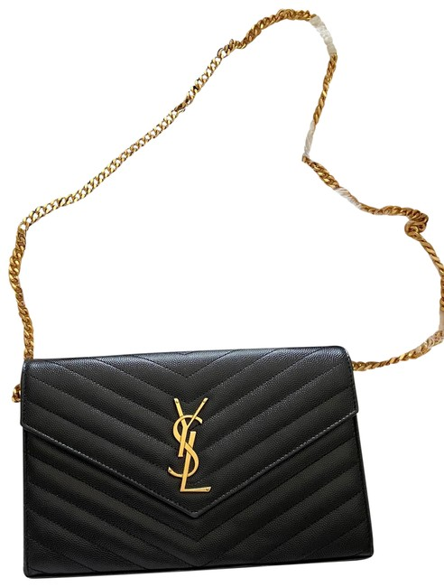 Item - Wallet on Chain Black/Gold Leather Cross Body Bag