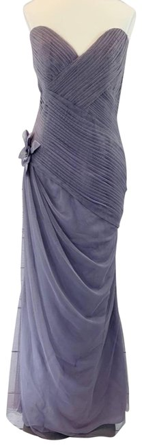 Item - Purple Lavender Strapless Ruched Tulle Long Formal Dress Size 8 (M)
