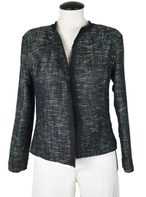 Item - Black Kensington Raw Edge Tweed Open Front Jacket M Blazer Size 8 (M)