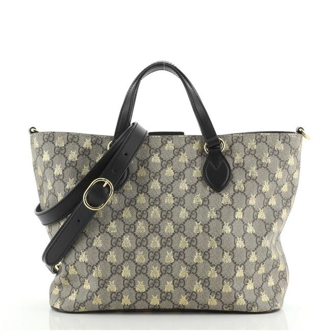 Item - Convertible Soft Printed Gg Coated Small Brown Canvas Tote
