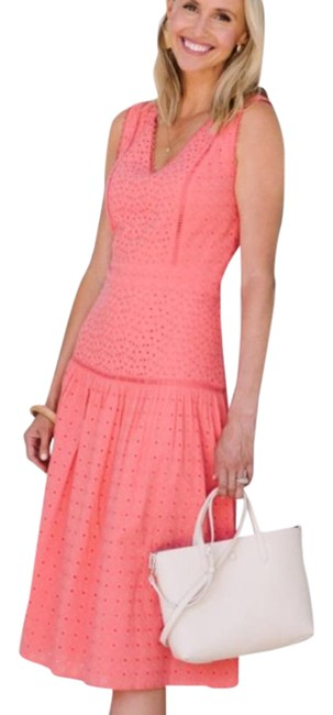 Item - Coral Eyelet Embroidered V Neck Midi Mid-length Short Casual Dress Size 4 (S)