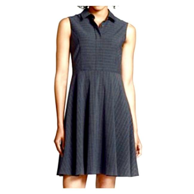 Item - Gray Charcoal Pinstripe Fit-flare Mid-length Work/Office Dress Size 12 (L)