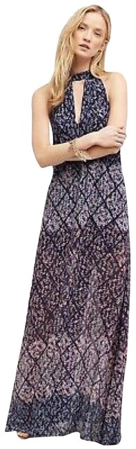 Item - Blue Floral Anthro's Erin By Erin Featherston Maxi Long Cocktail Dress Size 6 (S)
