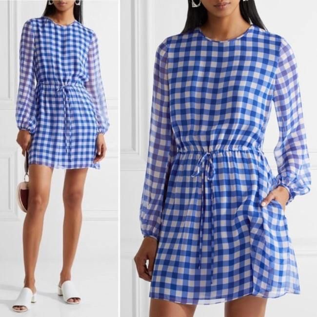 Item - Blue White Dvf Silk Chiffon Gingham Mini Short Casual Dress Size 4 (S)