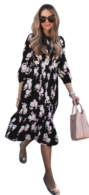 Item - Black Pink Nwot Posy Silk Floral Mid-length Casual Maxi Dress Size 8 (M)