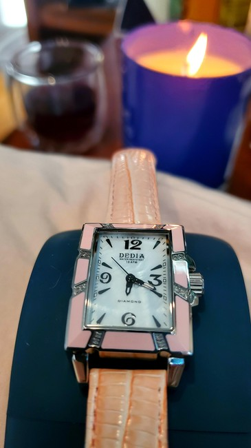 Item - Pink Dedia Lily Lr Diamond with Mother Of Pearl and Leather Band Watch