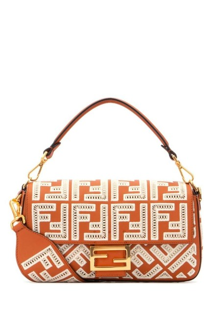 Item - Baguette Ff Embroidery Medium Brown Nappa Leather Cross Body Bag