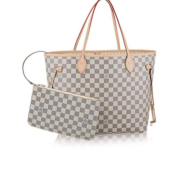 Item - Neverfull New Mm Azur with Beige Lining White Leather Tote