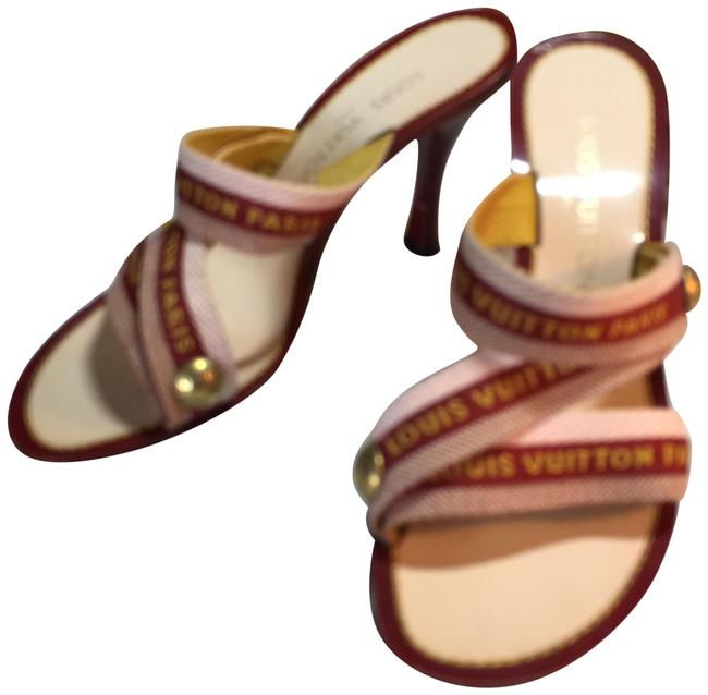 Item - Red Beige Brown Gold Italy Slip-on Mules/Slides Size EU 37 (Approx. US 7) Regular (M, B)