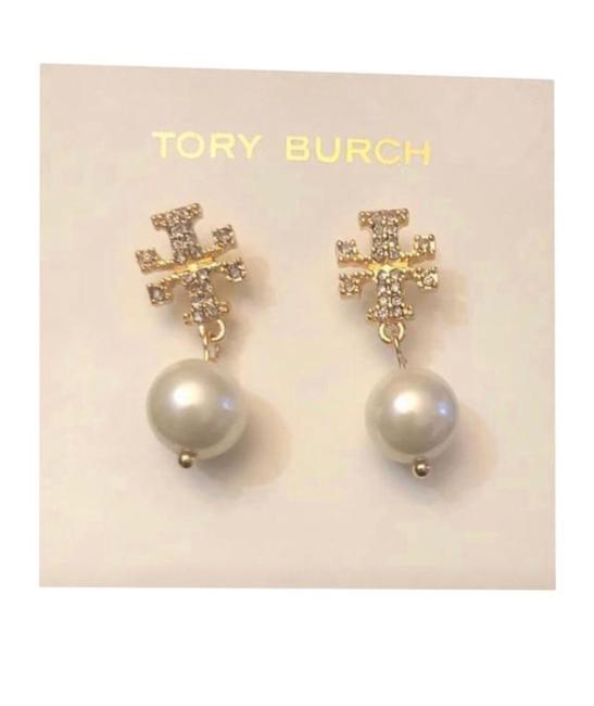 Item - T White Ivory Pearl Gold Crystal Logo Dangle Drop Earrings
