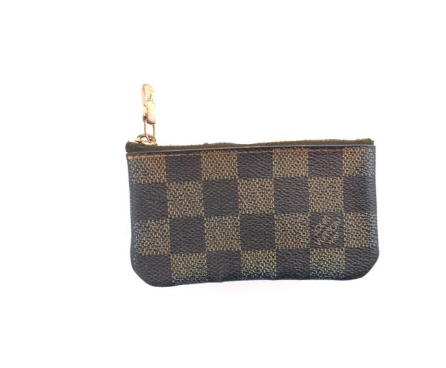Item - Brown Pochette Damier Ebene Canvas and Leather Cles Credit Coin Wallet