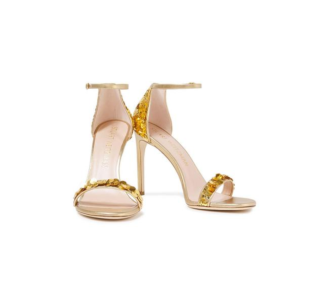 Item - Gold Embellished Metallic Silk-satin and Leather Sandals Size EU 41 (Approx. US 11) Regular (M, B)