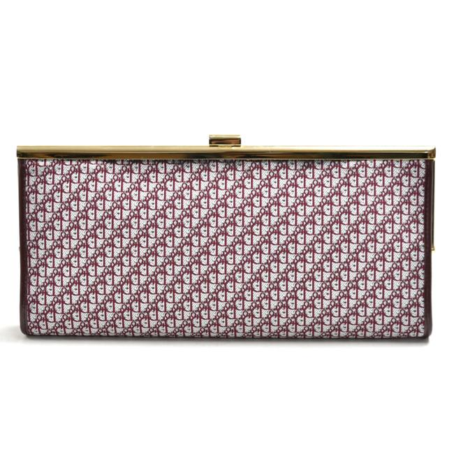 Item - Christian Logo Monogram Burgundy Jacquard Fabric Navy Leather Clutch