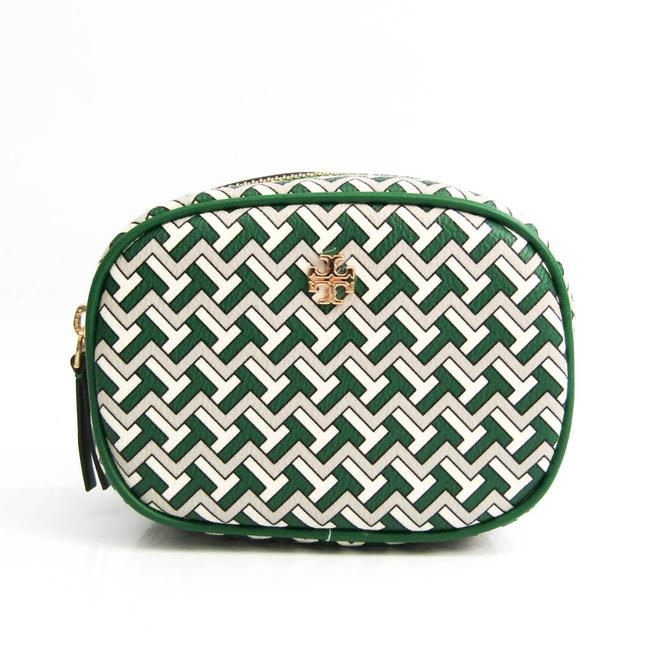 Item - Cosmetic Pouch T Zag 64205 Women's Gray / Green / White Leather / Coated Canvas Clutch