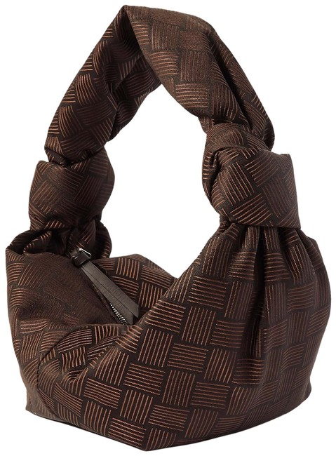 Item - Jodie Mini Knotted Leather-trimmed Jacquard Brown Leather and Velvet Tote