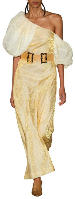 Item - Gold White 34 Nina One Shoulder Gown Long Night Out Dress Size 4 (S)