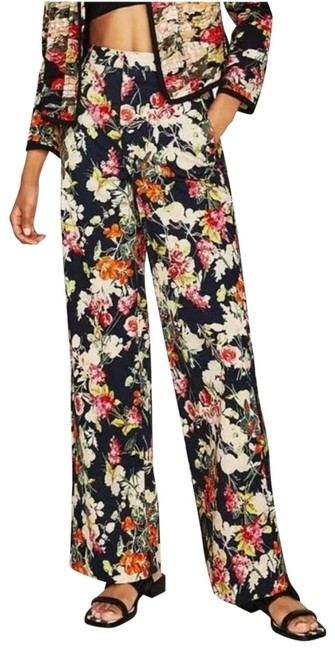 Item - Black XS Floral Poplin Trousers Long Palazzo Activewear Bottoms Size 2 (XS, 26)