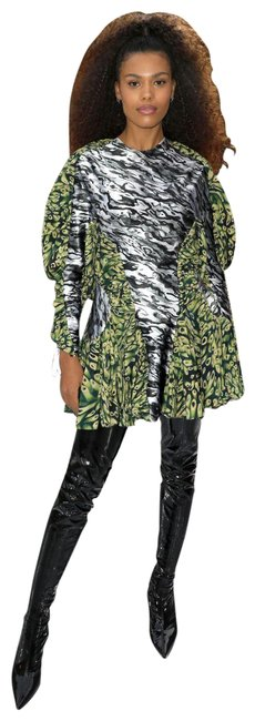 Item - Green Multiple 38(6) Rushed Silk Print Glass Short Night Out Dress Size 6 (S)