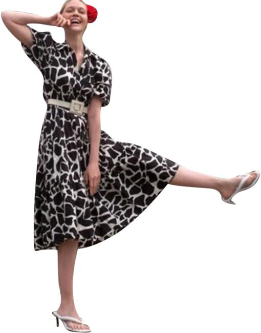 Item - Black and White Animal Print Belted Mid-length Casual Maxi Dress Size 16 (XL, Plus 0x)