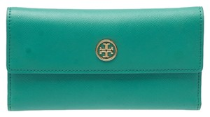 Tory Burch Tory Burch Robinson Trifold Teal Saffiano Leather Wallet (40607)