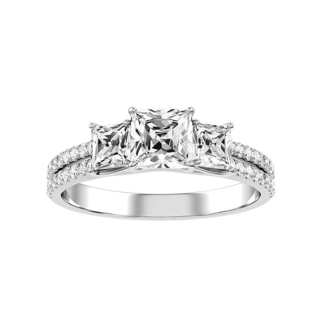 Item - 14k White Gold 2.50ct Three Stone Double Band Princess Cut Engagement Ring
