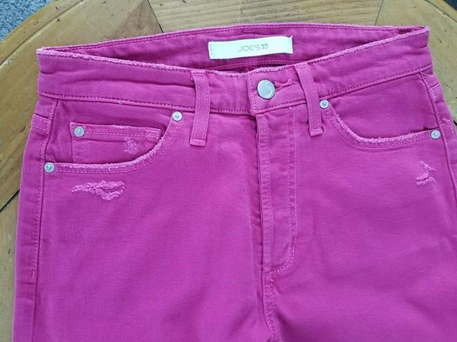 JOE'S Jeans Pink Distressed The Smith Hot Capri/Cropped Jeans Size 26 (2, XS) JOE'S Jeans Pink Distressed The Smith Hot Capri/Cropped Jeans Size 26 (2, XS) Image 3
