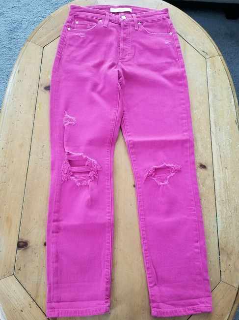 JOE'S Jeans Pink Distressed The Smith Hot Capri/Cropped Jeans Size 26 (2, XS) JOE'S Jeans Pink Distressed The Smith Hot Capri/Cropped Jeans Size 26 (2, XS) Image 4