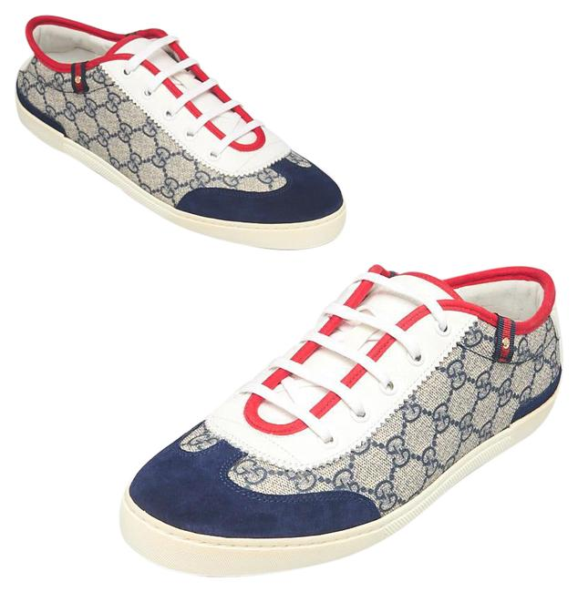 Item - Grey White Blue Gg Coated Canvas Suede Barcelona Sneakers Size EU 40 (Approx. US 10) Wide (C, D)
