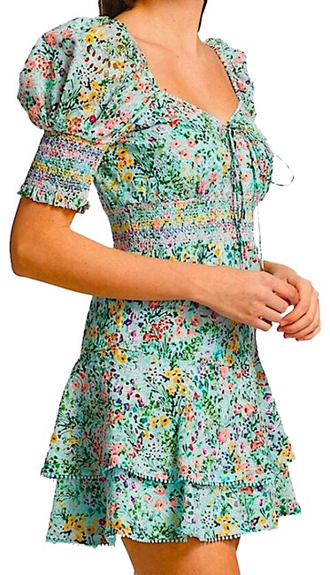 Item - Blue/Multi with Tag Crawford Floral Print Sweetheart Puff-sleeve Mini Short Cocktail Dress Size 8 (M)