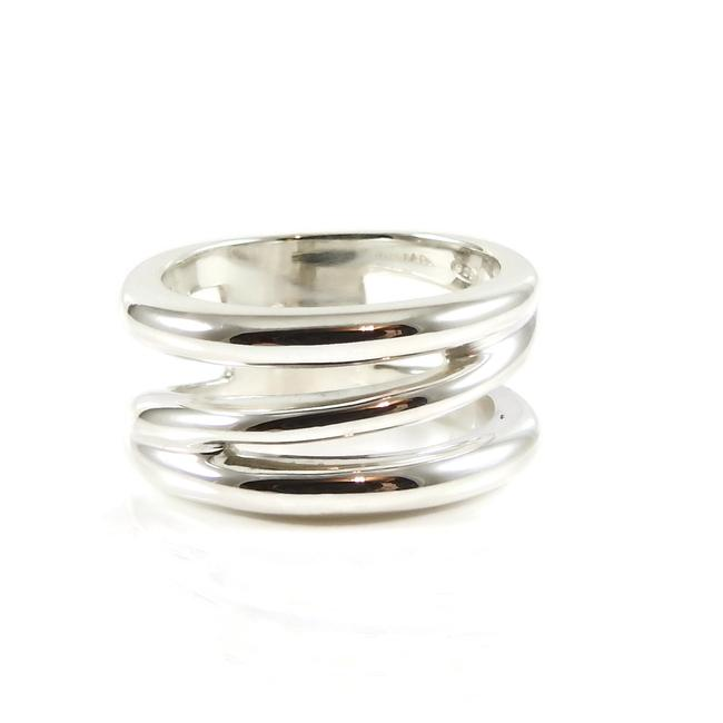 Item - Silver Sterling Wide Diagonal Band Ring