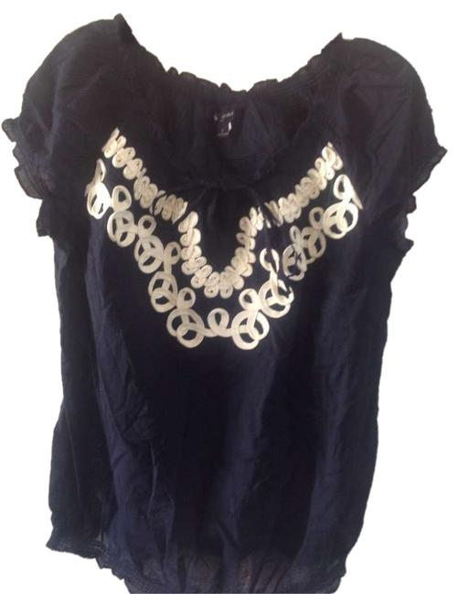 Banana Republic Like New Peasant Detail Top Navy blue with white trim