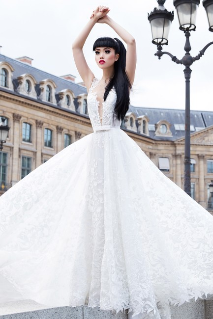 Item - Buttercream/ Nude/White Lace+tulle+stretch Tulle Felicity Sexy Wedding Dress Size 4 (S)