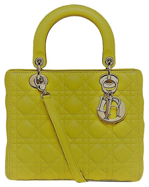 Item - Cannage Quilted Mustard Yellow Lambskin Leather Shoulder Bag