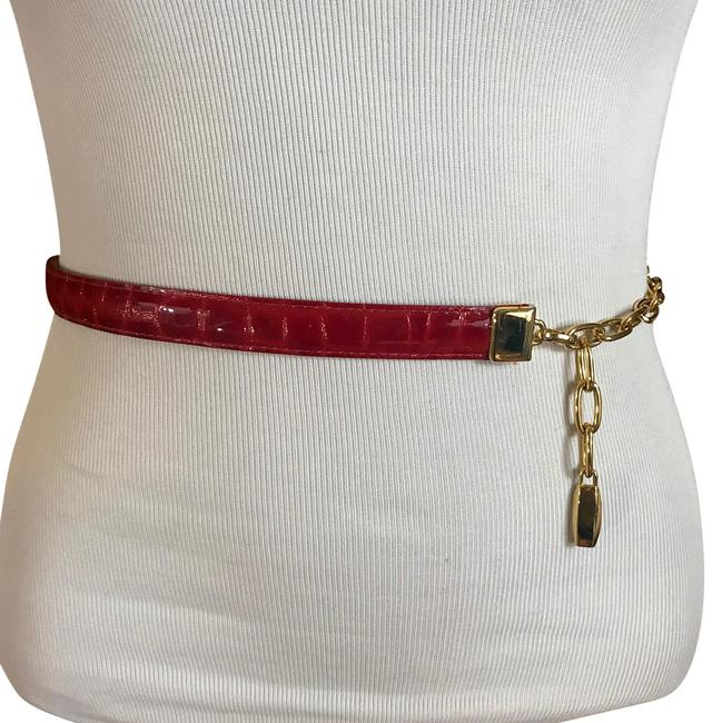 Item - Red Faux Leather and Chain Belt