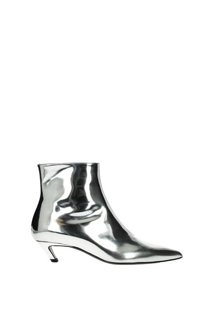 Item - Silver Ankle Women Leather Boots/Booties Size EU 40 (Approx. US 10) Regular (M, B)